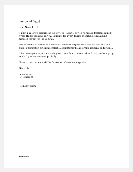 Service recommendation letter