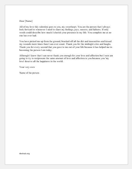 Valentine Day Letter for girlfriend