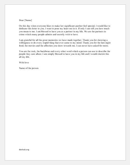 Valentine Day Letter for him