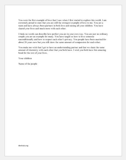 Valentine Day Letter for parents