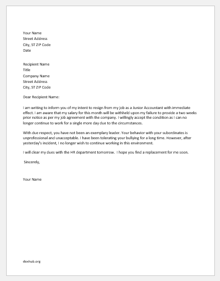 Resignation letter due to bullying boss