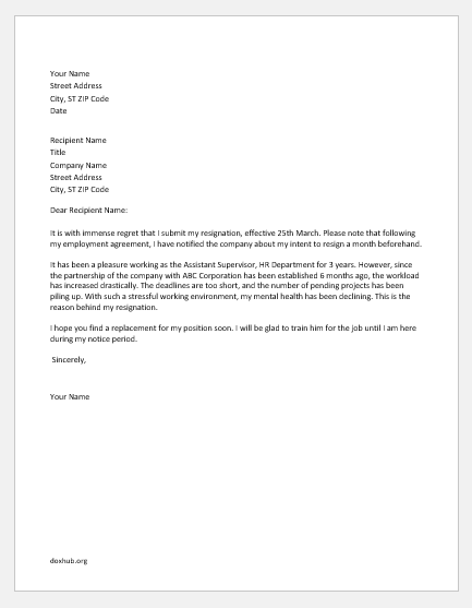 Resignation letter due to stressful work environment
