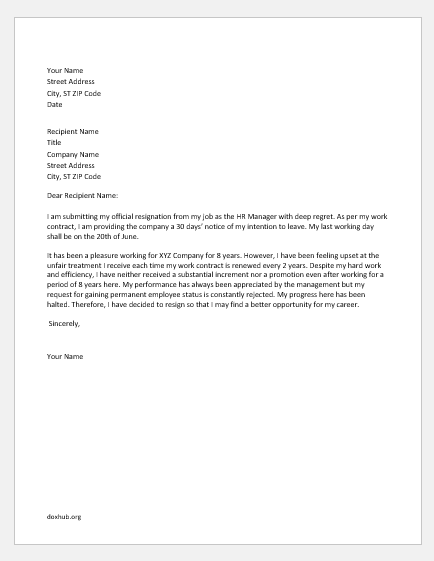 Resignation letter due to unfair treatment