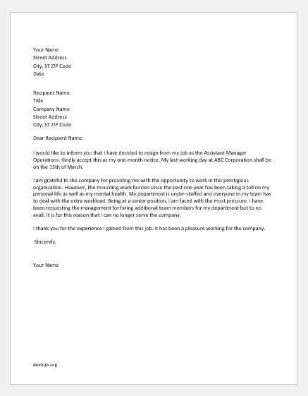 Resignation letter due to work pressure