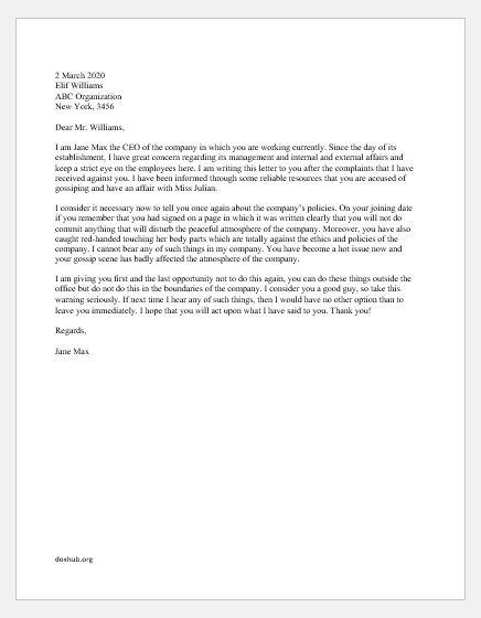 Warning Letter for Accusing of Gossip