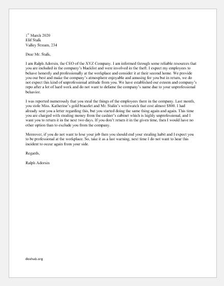Warning Letter for Unprofessional Behavior at Workplace