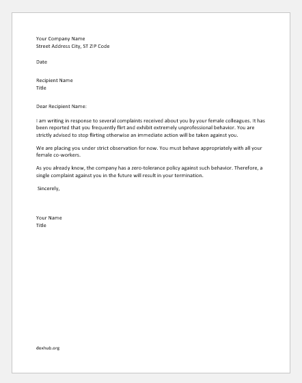 Sample Disciplinary Letter For Unprofessional Behavior from www.doxhub.org