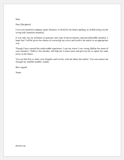 Letter Of Apology To Your Boss from www.doxhub.org