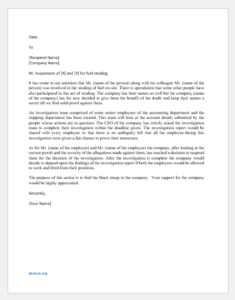 Suspension Letter for Fuel Stealing