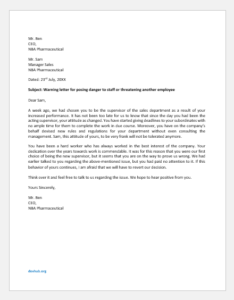 Warning Letter for Posing Danger to Staff or Threatening another Employee