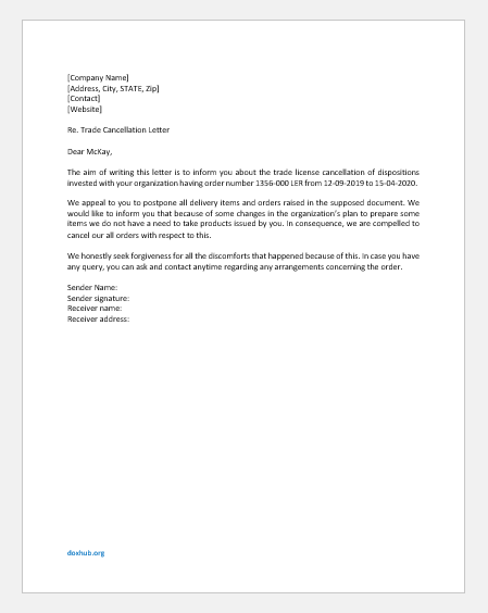 Trade License Cancellation Letter
