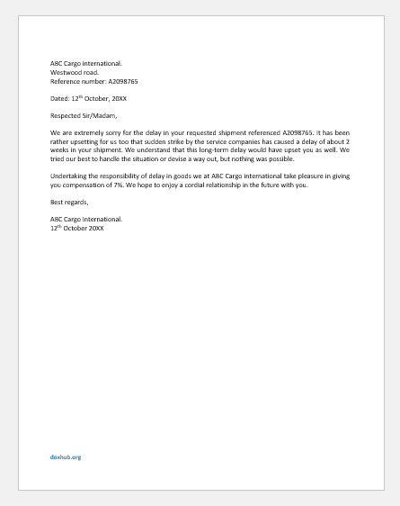 Cargo Delay Compensation Letter