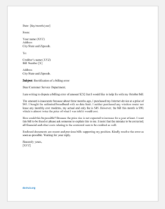 Complaint Letter for Billing Error