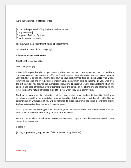 Immediate Termination Letter for Violating Company Policy