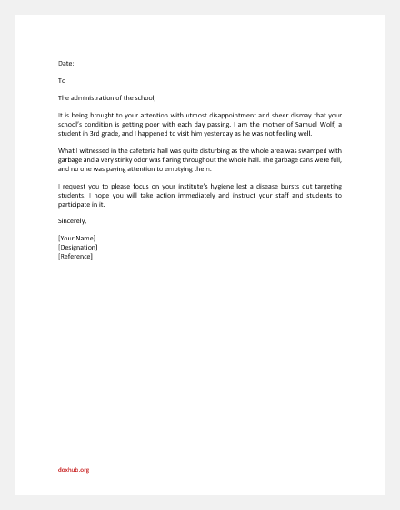 Letter Complaining Poor Condition of School