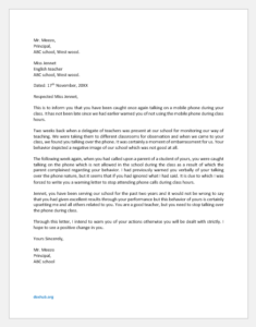 Warning Letter to Teacher for Using Mobile Phone in Class