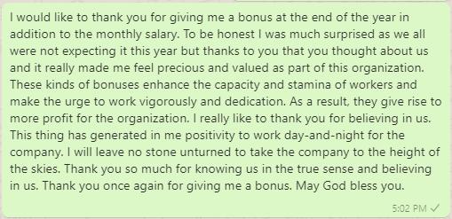 Appreciation Message to Boss for Bonus