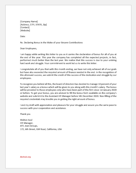 Bonus Announcement Letter