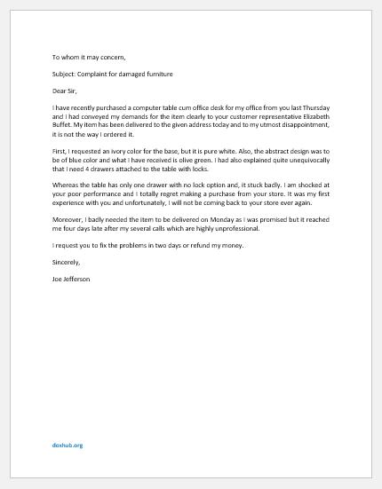 Complaint Letter for Damaged Furniture