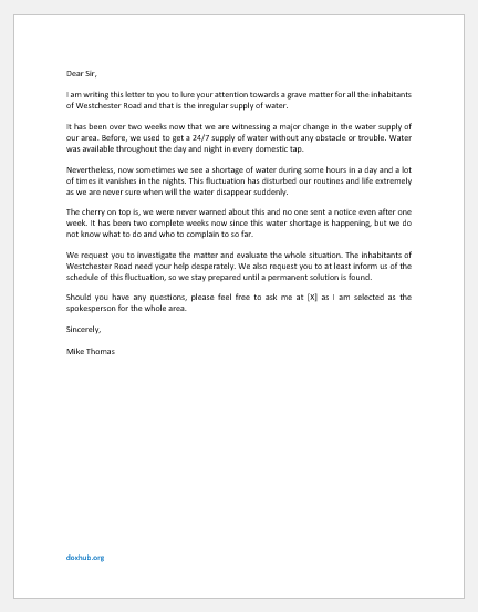 Complaint Letter for Irregular Supply of Drinking Water