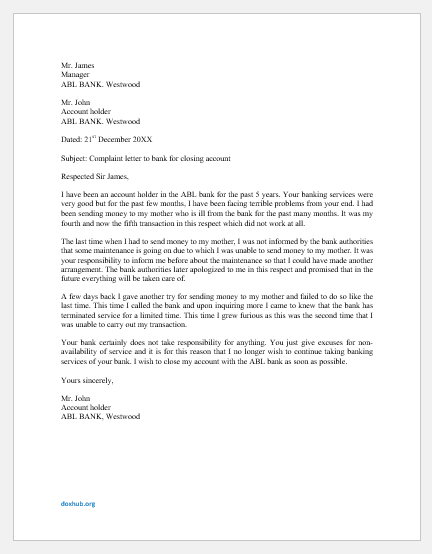 Complaint Letter to Bank for Closing Account