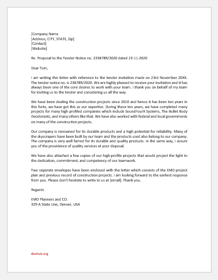 Covering Letter for Tender Proposal