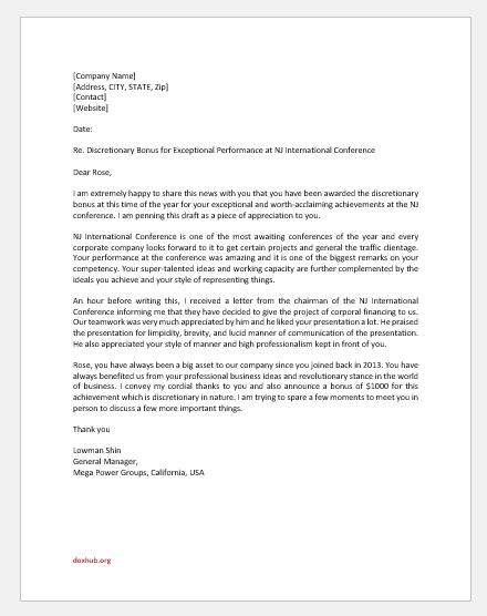Discretionary Bonus Letter