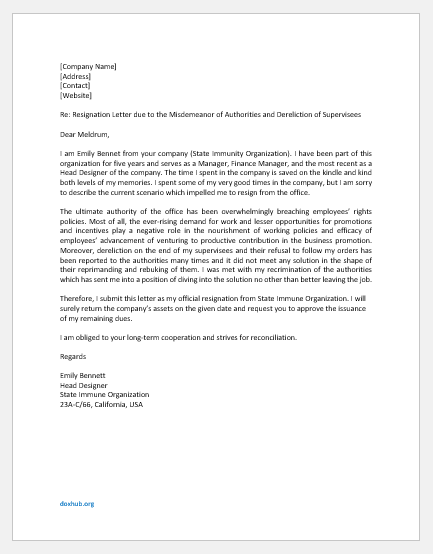 Heat of the moment resignation letter