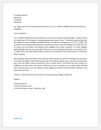 Legal Letter for Outstanding Payment