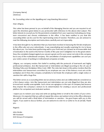 Letter of Counselling for Misconduct