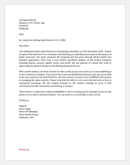 Letter of Interest in Bidding
