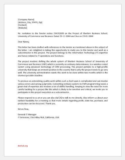 Letter of Invitation to Subcontractor