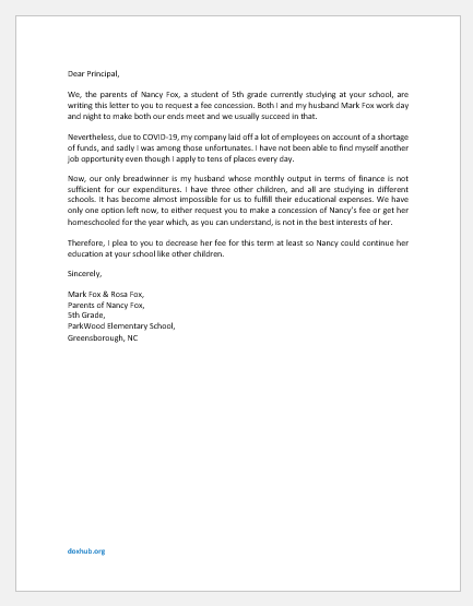 Letter to School Principal for Fee Concession from Parents