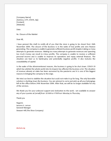 Business Closing Announcement Letter