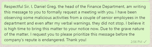 Meeting Request Messages to Boss