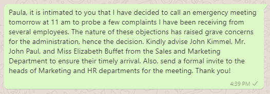 Message to Secretary for Urgent Meeting