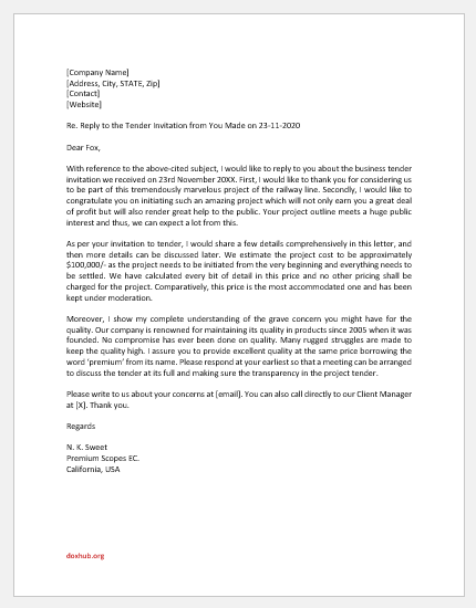 Reply to Tender Invitation Letter
