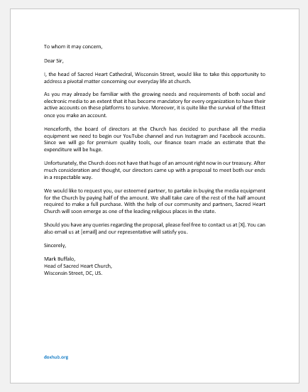 Request Letter for Media Equipment of Church
