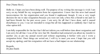 Sorry message to boss after resignation