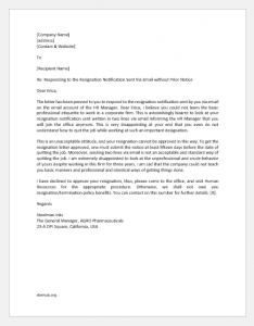 Angry Reply to Employee Who Resigned on Email