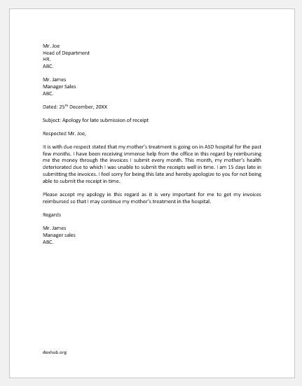 Apology Letter for Late Submission of Invoice