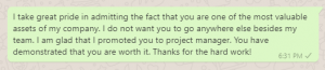 Appreciation Messages from Boss to Project Manager