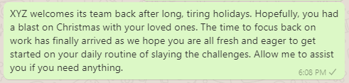 Back to Work Messages after Holidays