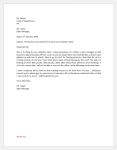 Letter of Permission to be Absent Due to Family Matter