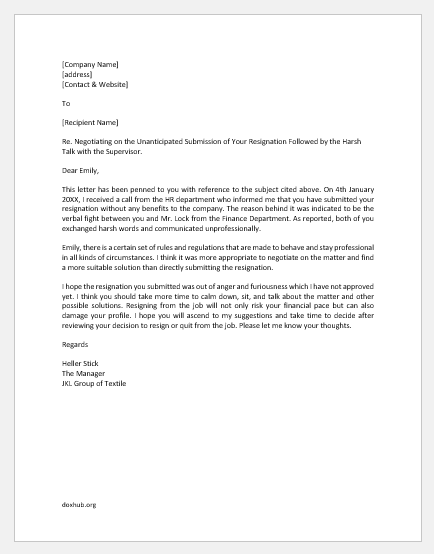 Letter to Cool Down Employee Who Resigned being Furious