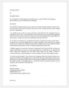 Letter to Employee Who Resigned for Heat of the Moment