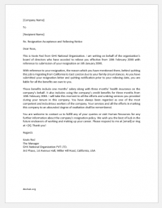 Resignation Acceptance and Relieve Letter