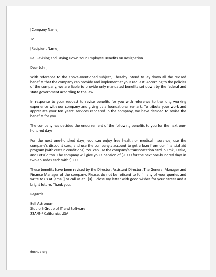 Revised Benefit Letter to Employee Who has Resigned