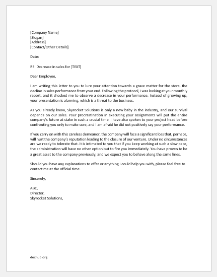 Sales Performance Decrease Letter to Staff