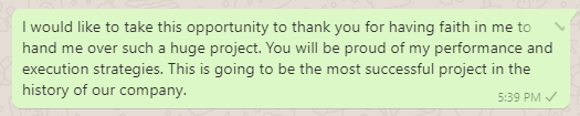 Thank You Message to Boss for Assigning New Project